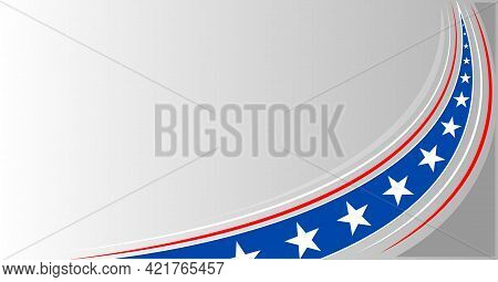 American Abstract Flag Banner Background Wave Pattern With An Empty Space For Text.