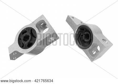 Aluminium Hob Arm Of The Car Isolated On White Background. Bush Stabilizer Auto. Car Suspension Kit.