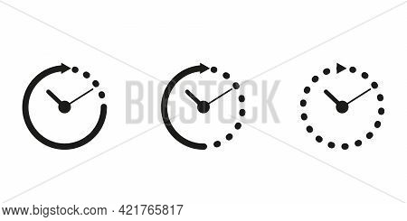 Set Timer Icon, Hour Time With Arrows And Circle Watch. Service 24 Hours Day. Deadline Concept. Open