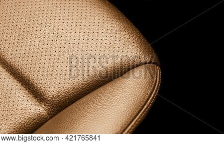 Modern Luxury Car Brown Leather Interior. Part Of Red Leather Car Seat Details With Stitching. Inter