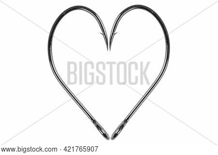 Fishing Hook Love Heart Sign Isolated On A White Background. Fishing Hook Close Up. Fishing Tackle.