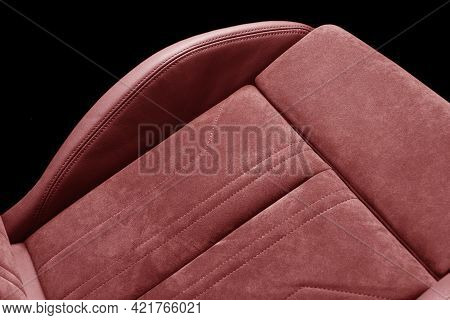 Modern Luxury Car Red Leather With Alcantara Interior. Part Of Red Leather Car Seat Details With Whi