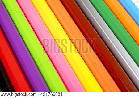 Colored Pencils Pattern. Set Of Multicolored Pencils Background Texture. Color Pencils Set