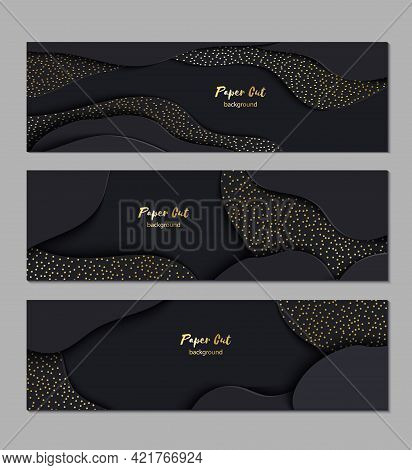 Set Of Three Black Paper Cut 3d Banners. Abstract Realistic Papercut Wavy Layers With Golden Sparkle