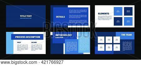 Presentation Template. Blue Rectangles Flat Design, White Background. 6 Slides. Title, Details, Elem