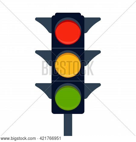 Signal Electric Traffic Light On Road, Stoplight. Direction, Control, Regulation Transport And Pedes