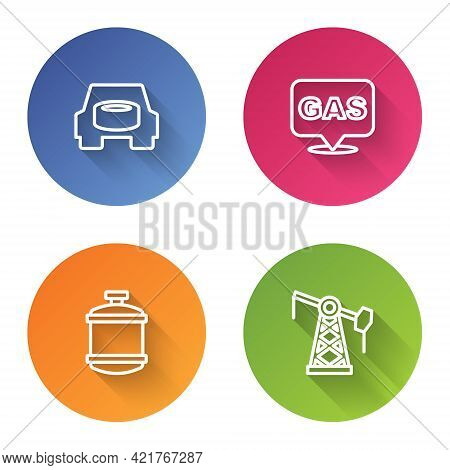 Set Line Spare Wheel In The Car, Location And Gas Station, Propane Tank And Oil Pump Or Pump Jack. C