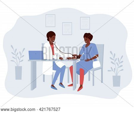 African American Obstetrician Doctor Measures The Blood Pressure Of A Pregnant Patient. Another Trip