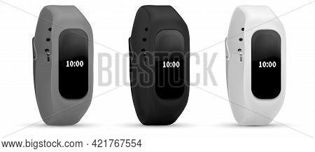Smart Band Smart Fitness Watch Bracelet With Touchscreen Stock Vector Illustration Isolated On White