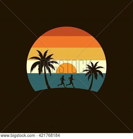 Life Run Logo With Palm Tree And Beach