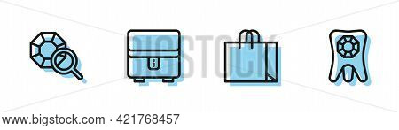 Set Line Shopping Bag Jewelry, Gem Stone, Jewelry Box And Tooth With Diamond Icon. Vector
