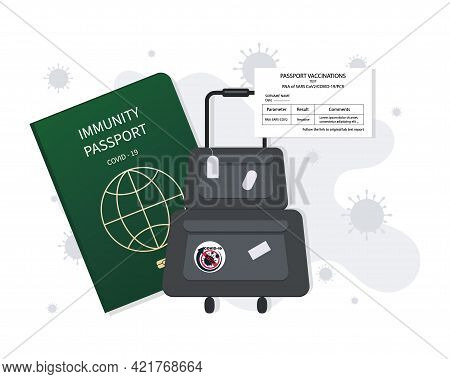 Vaccination Passport. Suitcase. Safe Travel After Vaccination. Medical Document Or Health Passport.