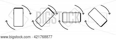 Rotation Icon Set. Smartphone Rotation Set In Modern Style On White Background. Phone Rotation Set.