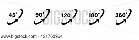 45 90 120 180 360 Degree Icon Set In Flat Style. Different Degree View Rotation Set. 360 Degree View
