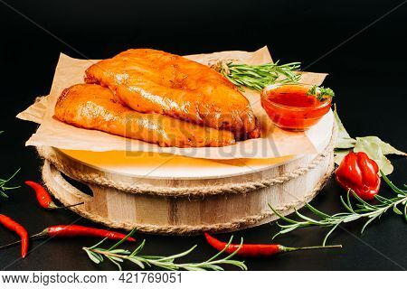 Raw Chicken Fillet Marinated With Spices.marinated Chicken Breast With Spices And Rosemary. Raw Meat