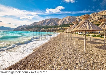 Idyllic Beach In Baska View, Island Of Krk, Croatia. Baska Is Famous Tourist Destination In Croatia.