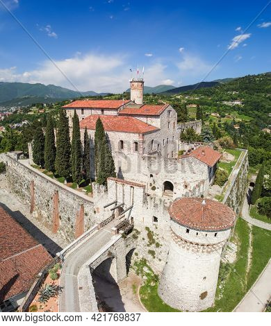 Beautiful View From A Drone On The Architectural Complex Of The Castle In Brescia City (vertical Pho