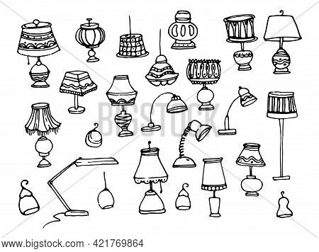 Doodle Set Of Lamps In Classic Style On Light Background.doodle Lamp Set. Vector Set Of Home Lamps,