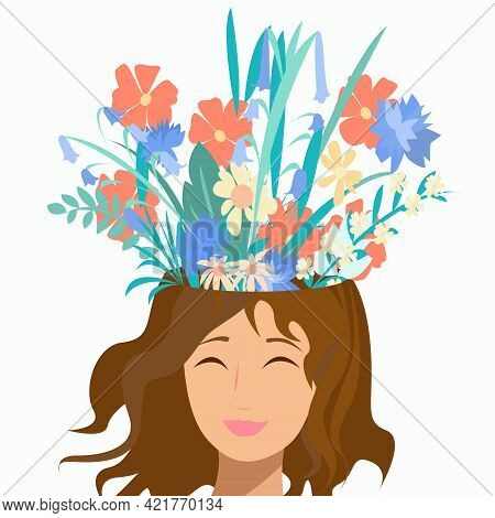 Psychological Health Girl And Flowers From The Head On A White Background.