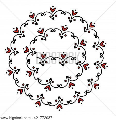 Doodle Wreath Heart Curl In Doodle Style On Black Background. Heart Line Drawing. Doodle Vector Illu