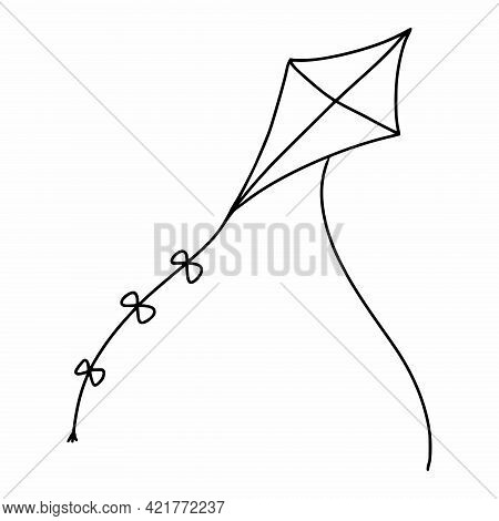 Doodle Style Kite. Toys For Children. Vector Coloring Book.