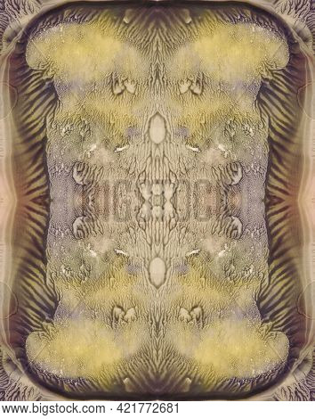 Grunge Symmetric Background. Brown, Yellow, Green And Violet Paint. Abstract  Watercolor Painting.