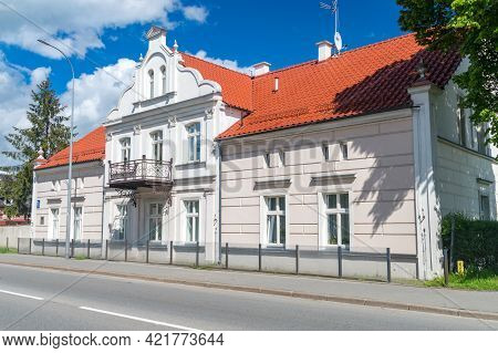 Pruszcz Gdanski, Poland - May 23, 2021: Neo-renaissance Residential Building Built In 1891. Linden M