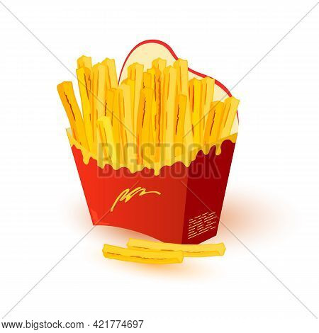 Appetizing, Crispy, Salty French Fries In Paper Cup. Hot Potato Finger Chips In Disposable Packing O