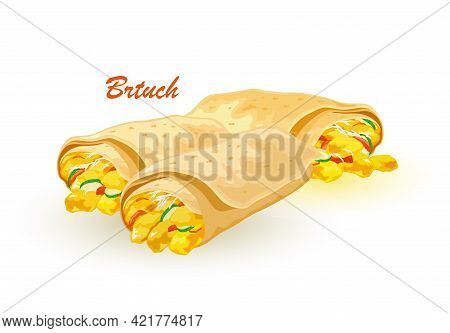 Cartoon Of Fresh Pita Bread Stuffed With Eggs, Cheese, Meat, Greenery, Herbs And Lettuce. Vector Hot
