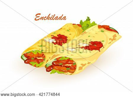 Cartoon Of Hot Fresh Pita Bread With Fresh Farm Vegetables Lettuce, Tomato And Nutritious Meat, Sauc
