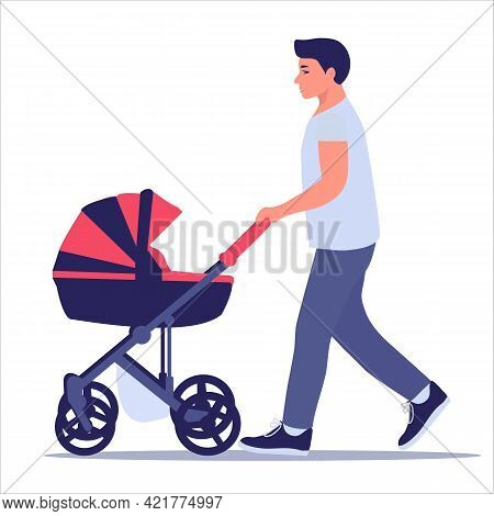 Happy Parenthood. Young Dad Walks With A Baby Stroller. Concept For Father's Day. Vector Illustratio