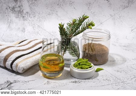 Spruce Tips Syrup Or Liqueur. Healthy Eating Concept.