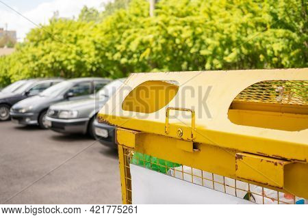 Yellow Container For Collecting Waste From Plastic, Nature, Green, Trees. Sorting Waste, Environment
