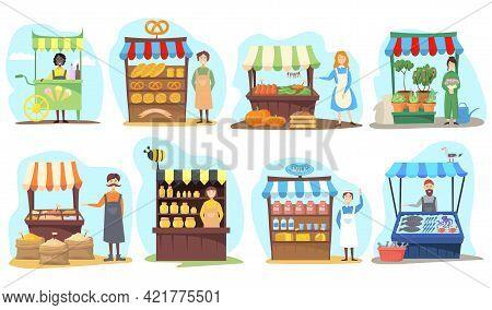 Set Of Street Vendor Booths. Cartoon Vector Illustration. Farm Market, Food Counters, Kiosks With Fi