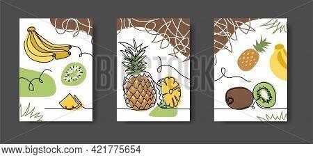 Exotic, Tropical Fruits Wall Lineart Decoration. Pineapple, Bananas, Kiwi. Set Of Vector Illustratio