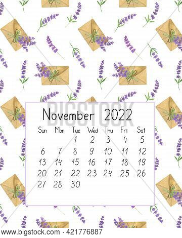 Calendar Page The Year 2022 For November Watercolor Floral Seamless Illustration, Printable Page, Ha