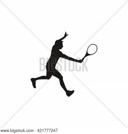 Man Athlete Swing Her Tennis Racket Silhouette - Tennis Cartoon Athlete Silhouette Isolated On White