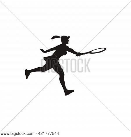 Woman Athlete Swing Her Tennis Racket Silhouette - Tennis Cartoon Athlete Silhouette Isolated On Whi