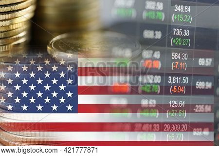 Stock Market Investment Trading Financial, Coin And Usa America Flag Or Forex For Analyze Profit Fin