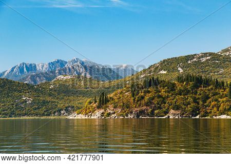 A Beautiful Landscape View At Lake Skadar And Dinaric Alps In Montenegro, National Park, Famous Tour