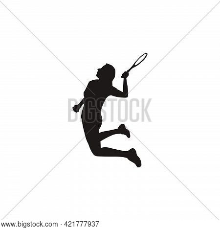 Silhouette Of Women Badminton Player Jumping At Court - Silhouette Of Women Are Playing Badminton At