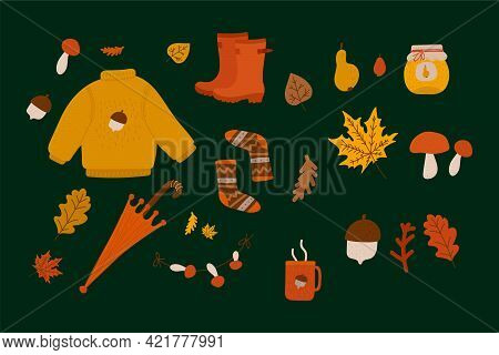 A Set Of Autumn Illustrations. Cozy Sweater, Leaves, Socks, Boots, Cup, Pear, Mushrooms, Acorns, Jam