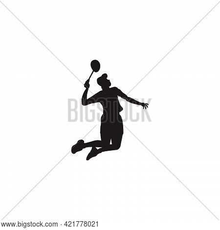 Silhouette Of Men Badminton Player Jumping Smash At Court - Silhouette Of Sport Men Are Playing Badm