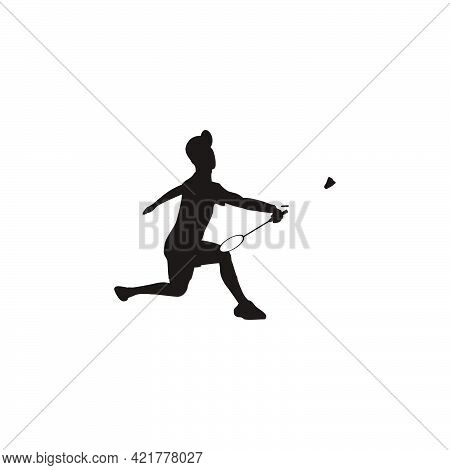 Silhouette Of Sport Man Badminton Receive The Shuttlecock Quickly From The Opponent - Silhouette Of
