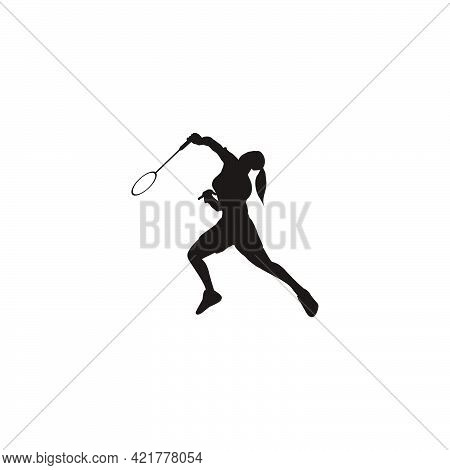 Women Badminton Pose After Receive The Shuttlecock From The Opponent Silhouette - Women Are Playing