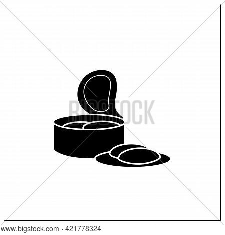 Canned Tuna Glyph Icon. Steel Container.portion Control, Protection, Tampering Resistance From Bacte
