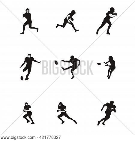 Sport Men Playing Rugby Cartoon Illustrations Silhouette Set - Football Player Playing Rugby Silhoue