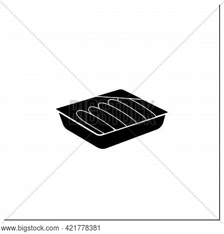 Sausages Glyph Icon. Meal In Plastic Box. Portion Control, Protection, Tampering Resistance From Bac