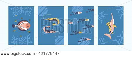 Set Of Sea Animals Illustrations In Pastel Style. Sea World Illustration Set In Gentle Colors. Cute