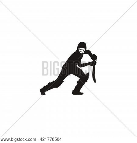 sport man hit the ball on cricket game - cricket athlete cartoon hit the ball isolated on white